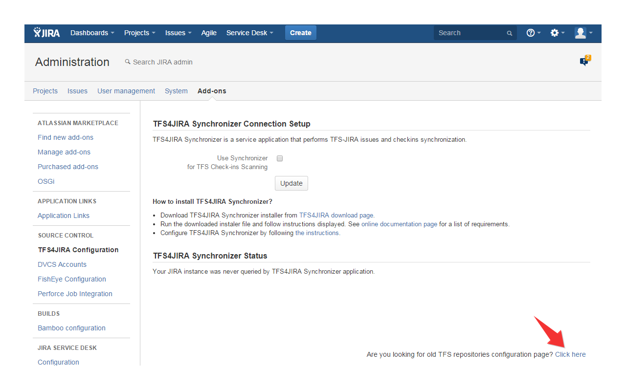 Configuring TFS check-ins scanner in JIRA plugin (deprecated)