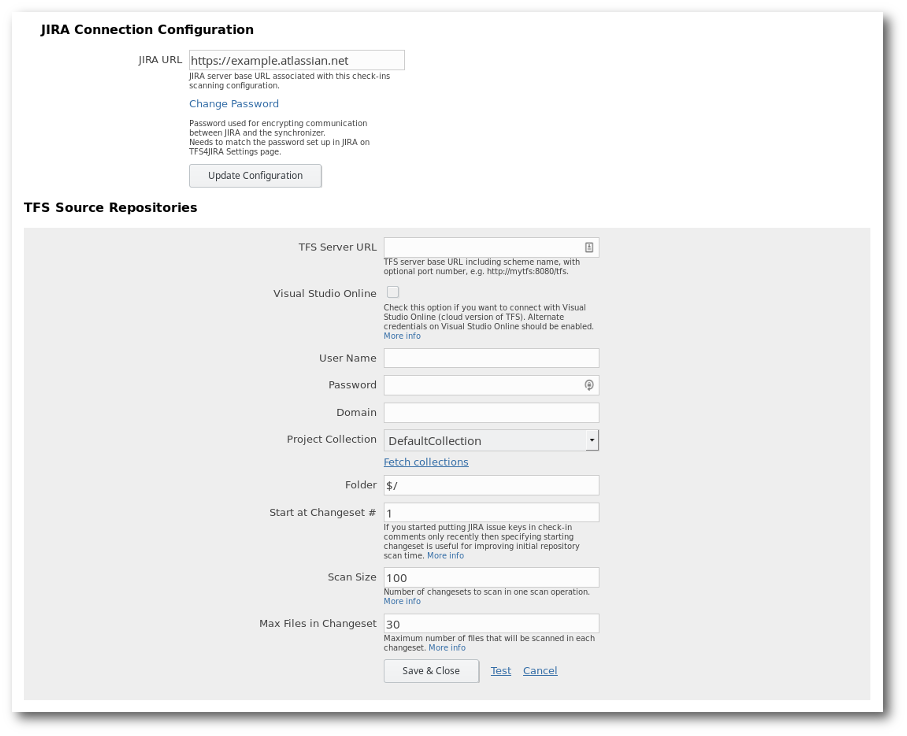 Configuring TFS4JIRA check-ins synchronization from scratch