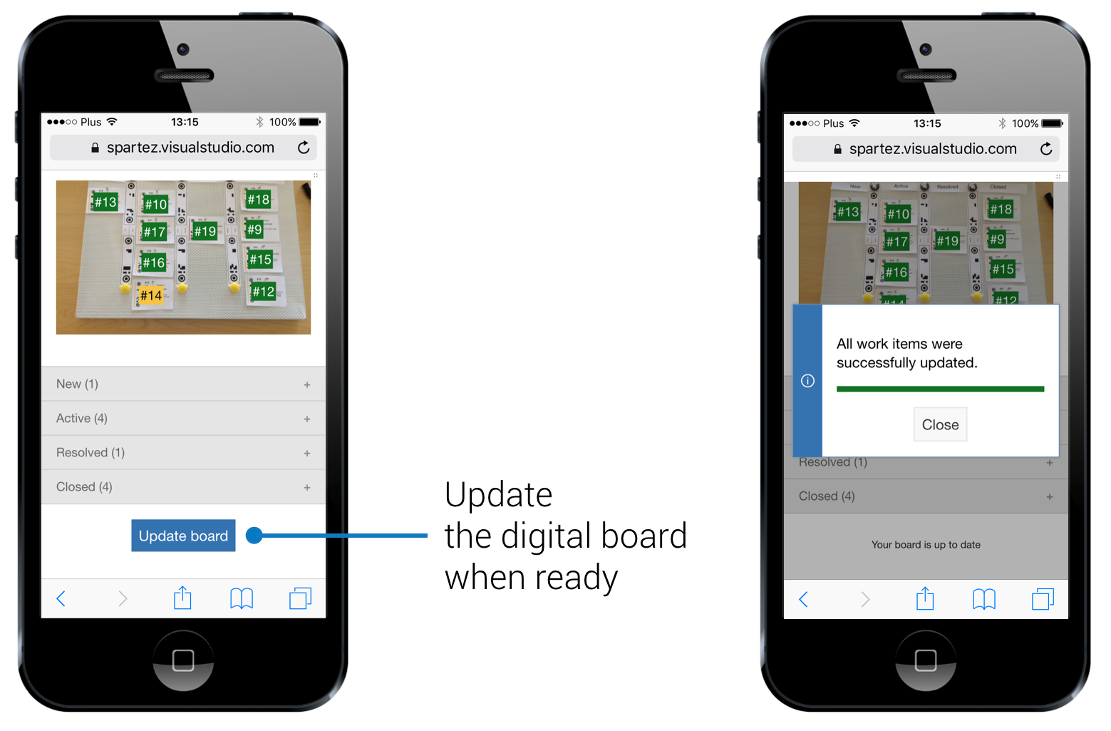 Scanning the board using a mobile device