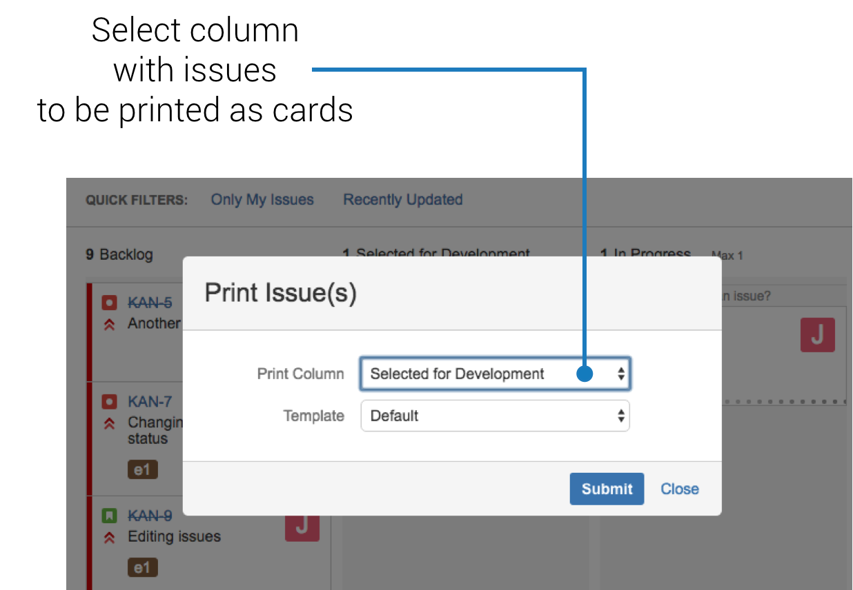 Printing cards from Kanban Board